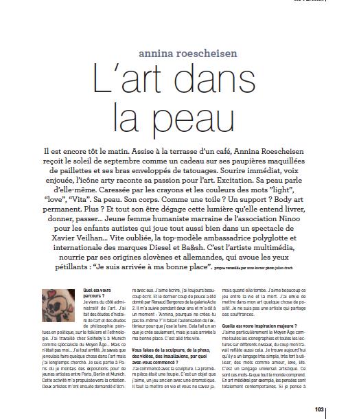 Annina Roescheisen - interview Artist Edgar magazine november 2014