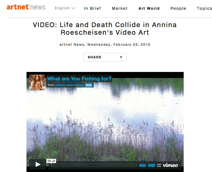Artnet Interview Annina Roescheisen -February 2015 - wht are you fishing for - videoart