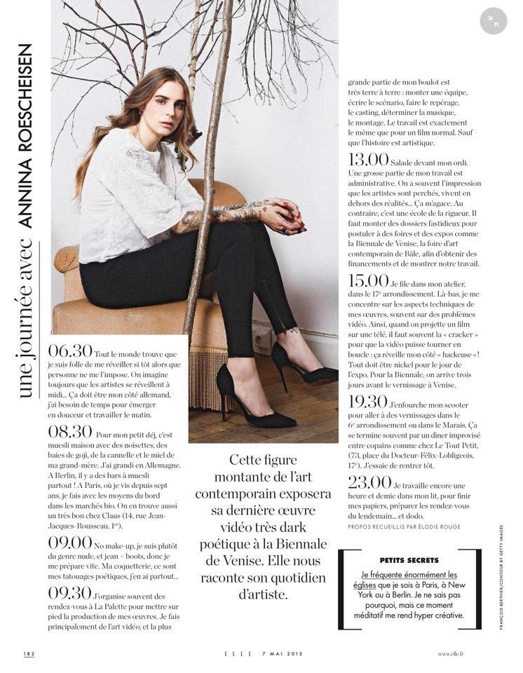 Annina Roescheisen artist interview Elle Magzine May 2015