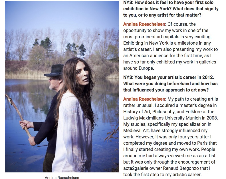 3 1 NY Spaces Magazine - interview german contemporary artist Annina Roescheisen